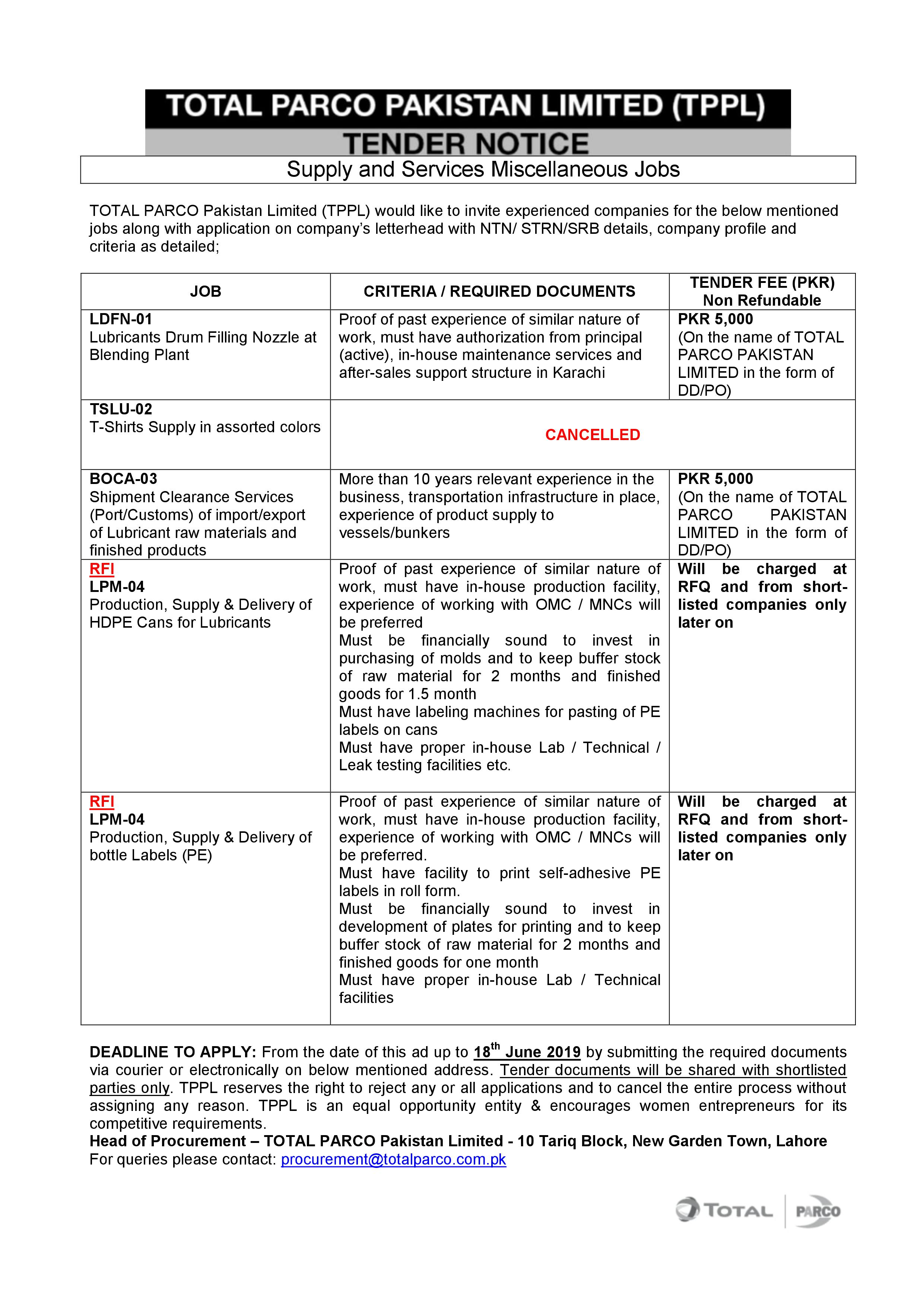 Tender Notice - Miscellaneous Jobs Supply & Services | Total